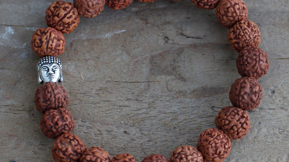 Rudraksha Buddah Bangle Mala - Natural