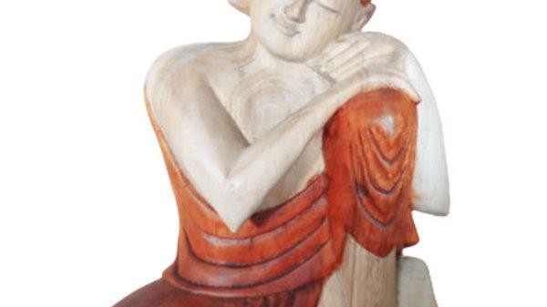 Thinking Hand Carved Buddha Statue 30cm