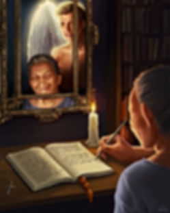 Lupe  making entries into her ledger while guardian angel watches over her