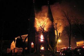 Burning church scene