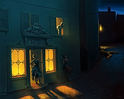 Scene outside The Dark Rose's brothel