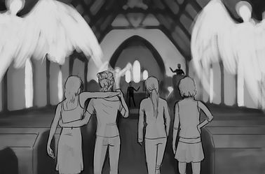 Sketch of rescued girls entering sanctuary