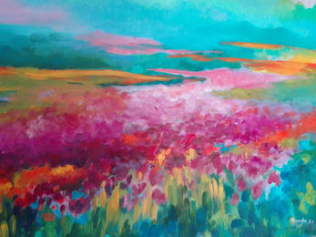 Arcobaleno campestre (olio su tela 70x50) Angelo Rondelli