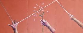 Trittico La distruzione della natura nei progetti ambientali (minio e pastelli ad olio su tela 30x75) Marco Penati