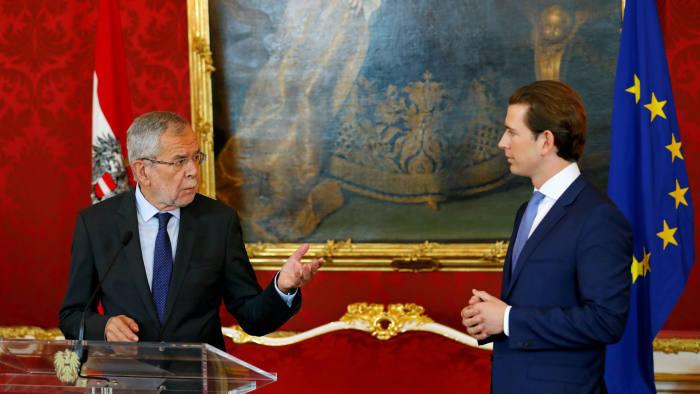 President Alexander Van der Bellen of Austria, left, and Sebastian Kurz, chancellor, at a news conference on Sunday © Reuters