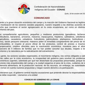 CONAIE respalda movilizaciones en el Ecuador