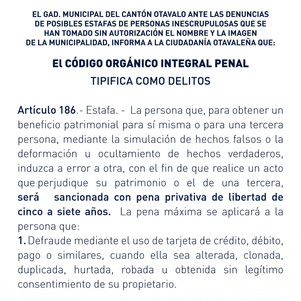 Municipio de Otavalo alerta a la ciudadanía para evitar estafas