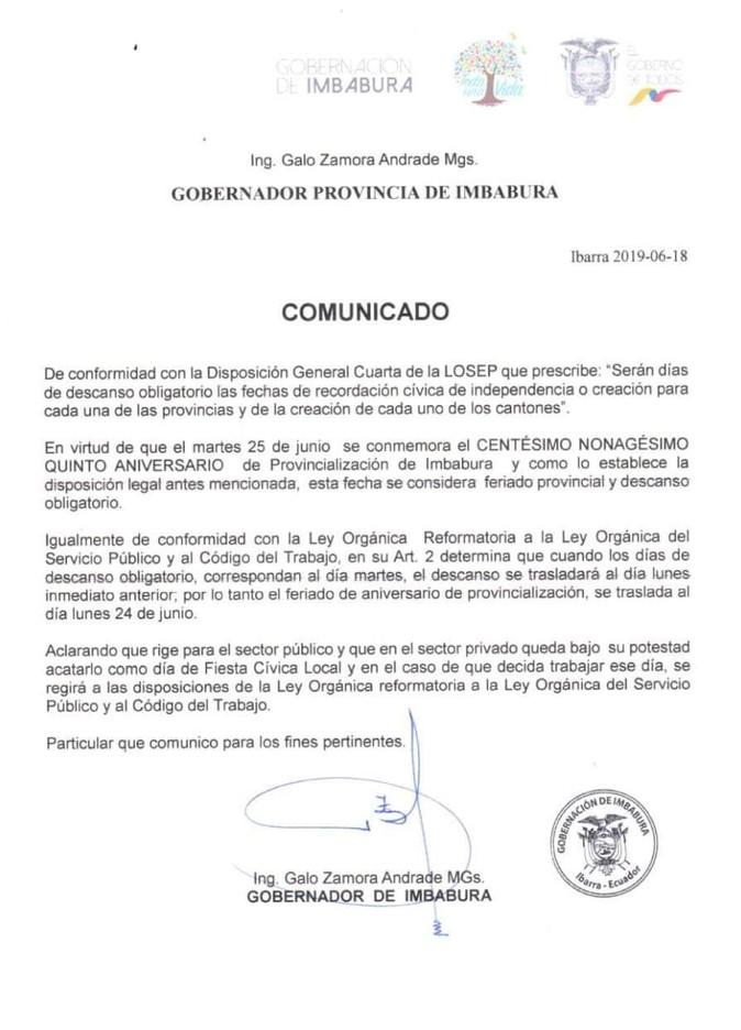Feriado obligatorio por aniversario de provincialización de Imbabura