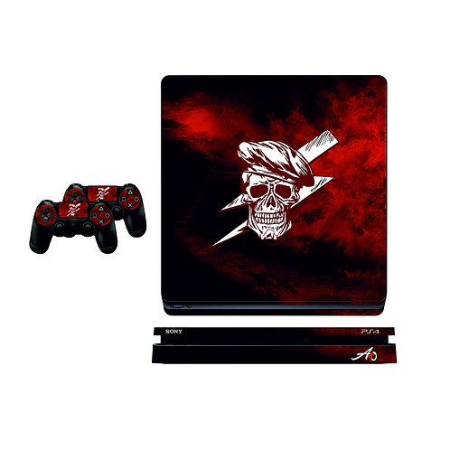 PS4 Slim Red Skull Skin For PlayStation 4