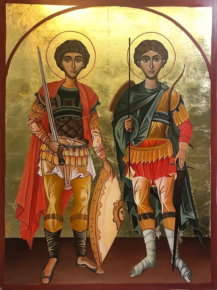 Icon Painting of Saint George and Saint Demetrios