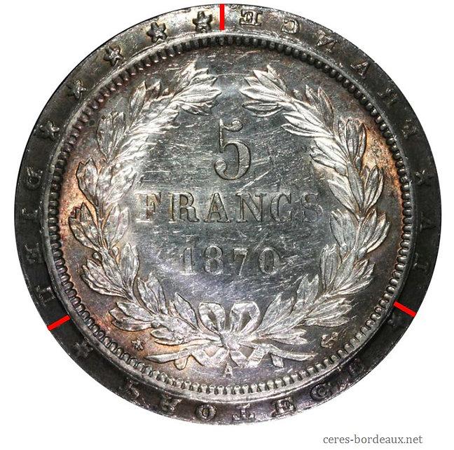5 Francs Cérès 1870 virole