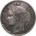 5 Francs Cérès monnaie fautée