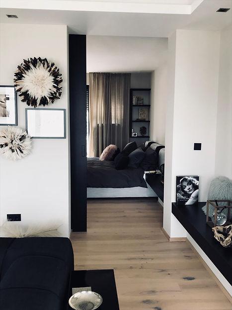 Urban Loft Schlafzimmer, schwarz weiß