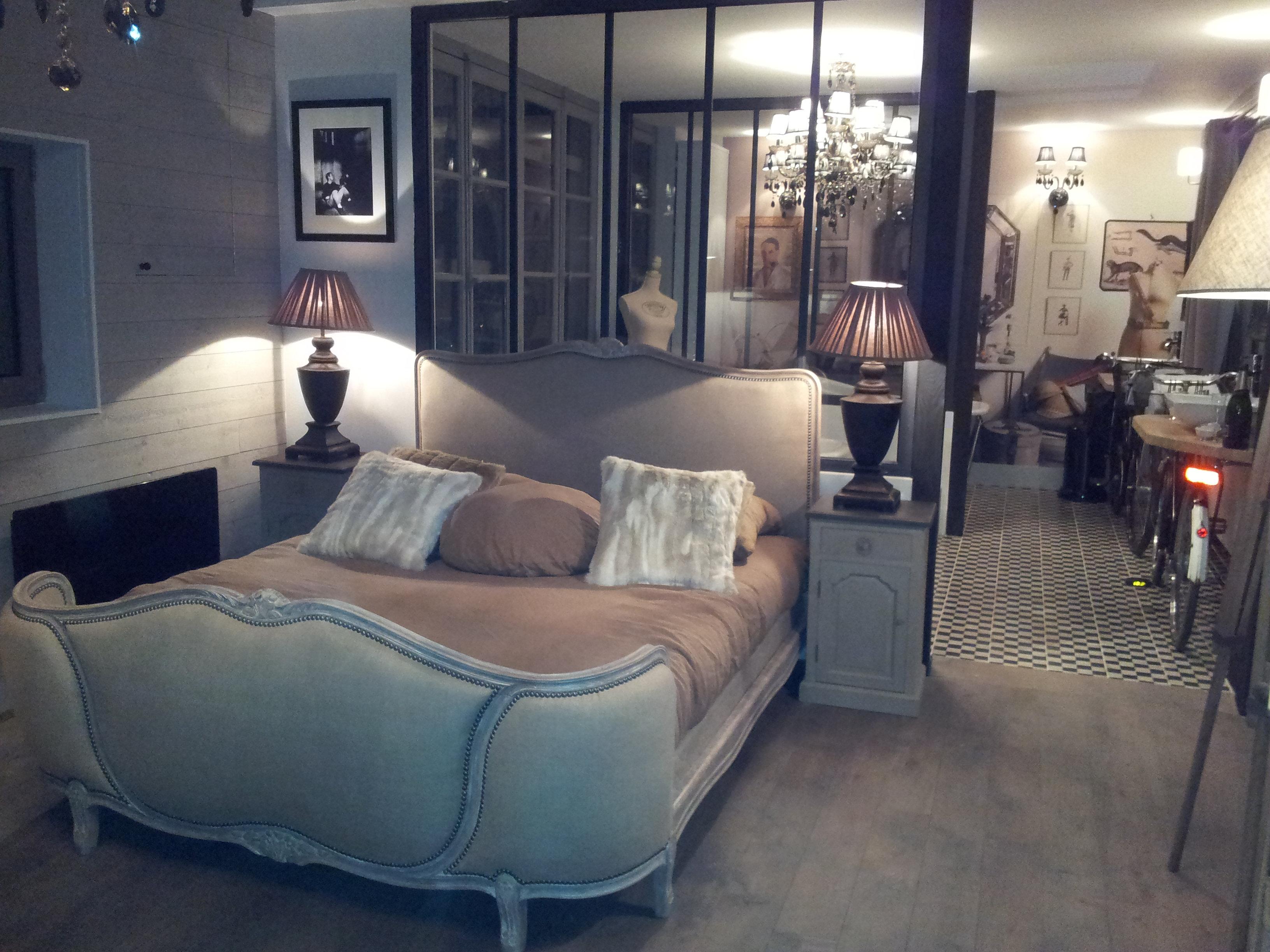 dco design tapissier decorateur lit louis xv tissu lin. Black Bedroom Furniture Sets. Home Design Ideas