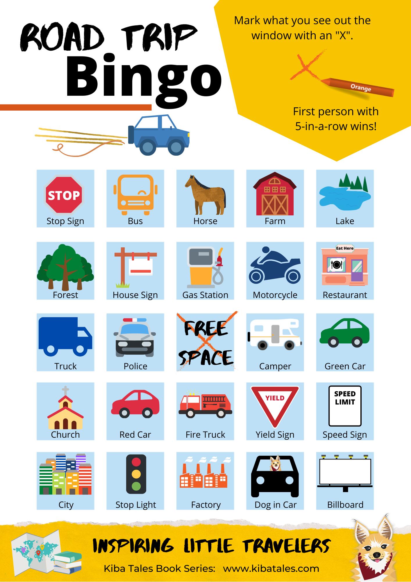 Road Trip Bingo Cards - U.S. Edition