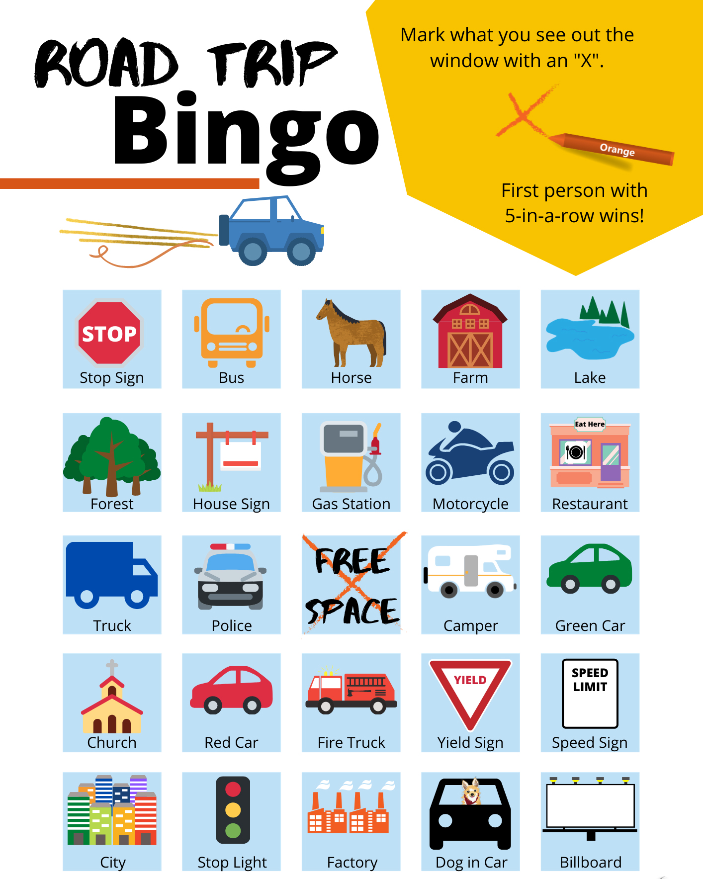Road Trip Bingo Cards - U.S