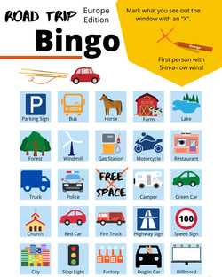Road Trip Bingo Cards - Europe Edition