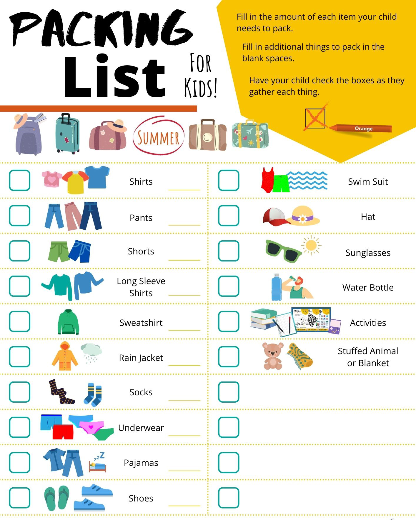 Packing Lists for Kids