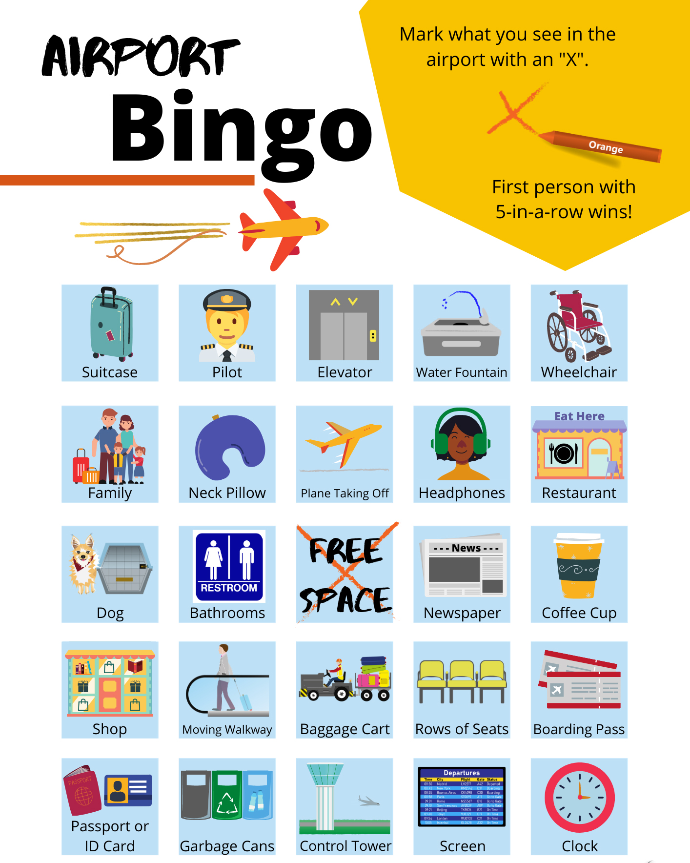 Airport Bingo Cards
