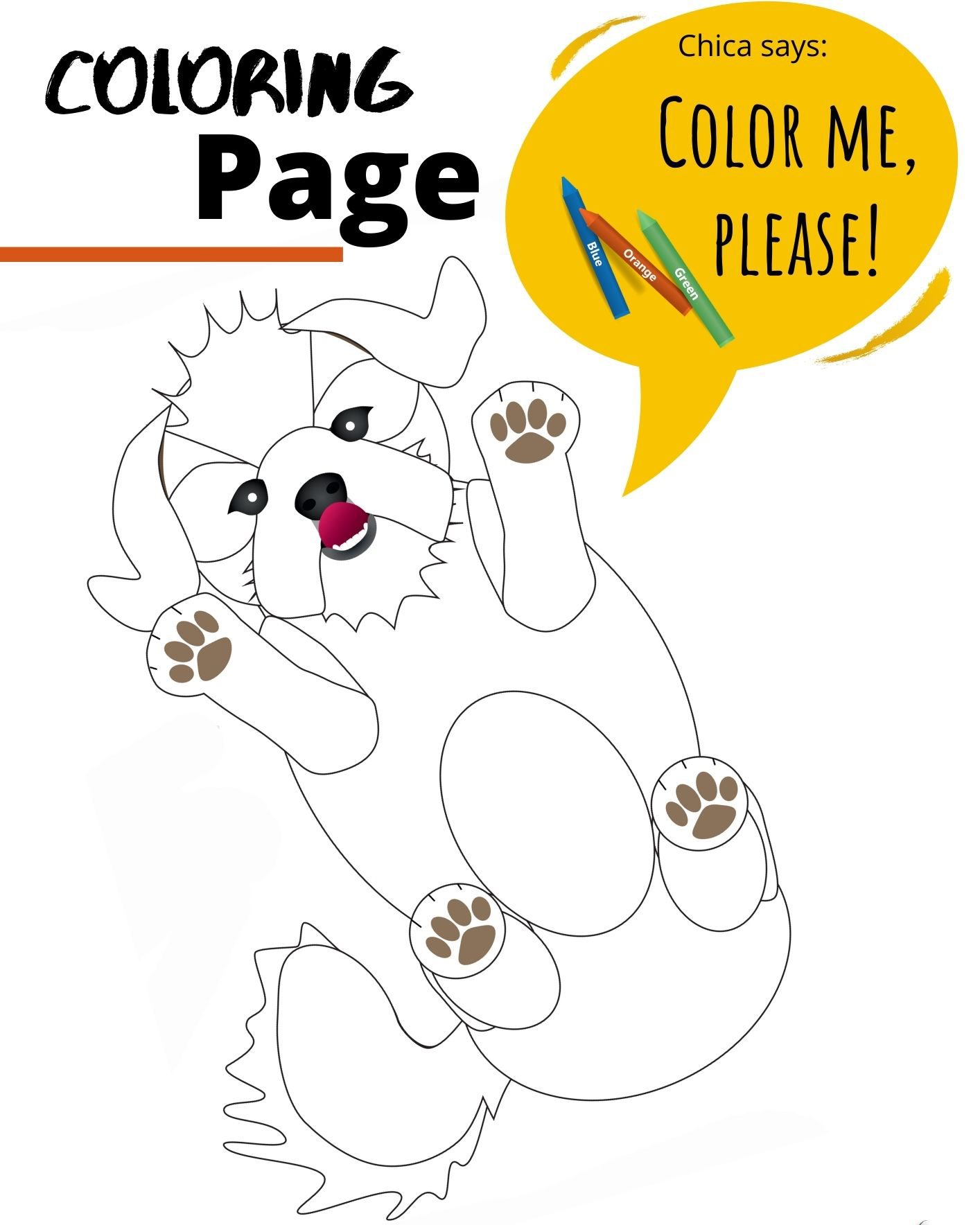 Coloring Page of Chica the dog