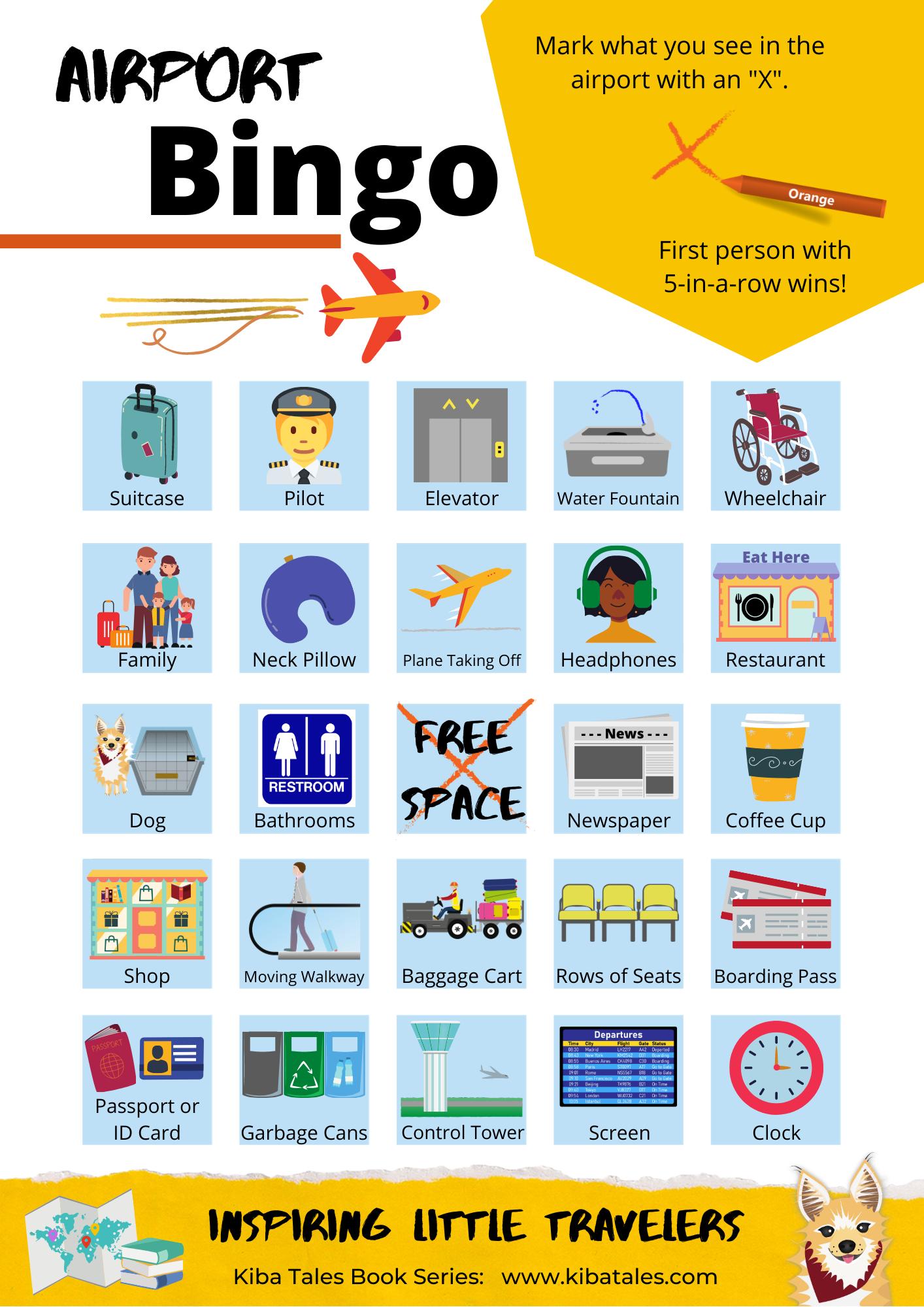 Airport Bingo Cards