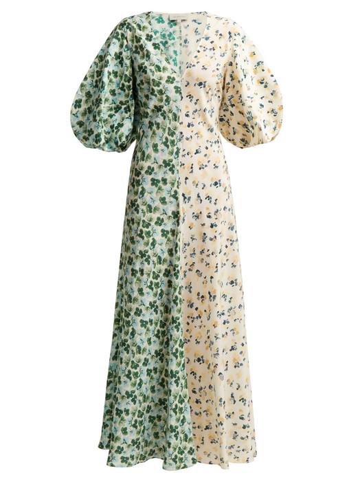 LEE MATHEWS Eloise panelled floral-print silk dress