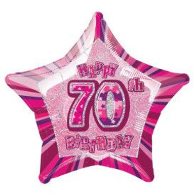 "Balloon Foil 18"" Happy Birthday 70 Pink"
