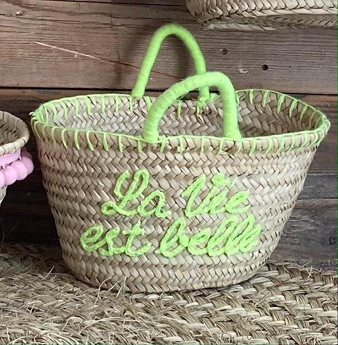 Embroidered Short handled neon basket