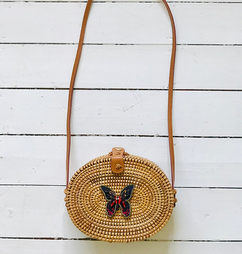 Butterfly Oval Rattan Bag