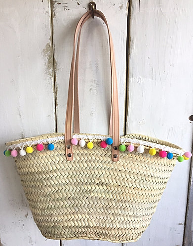 Small Capri Basket with long handles and candy Pom Poms