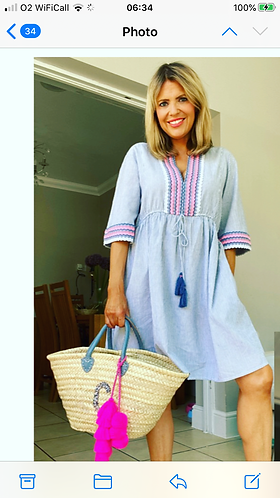 Blue and White striped Kaftan with embroidery