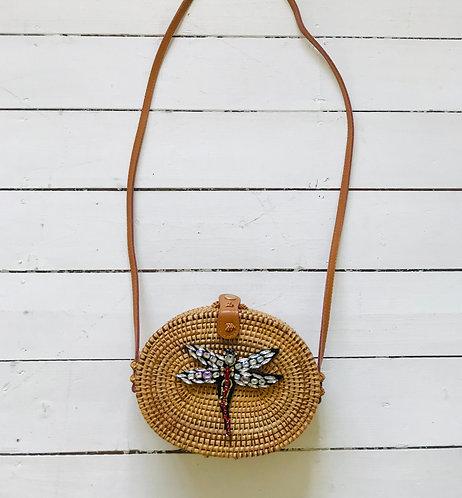 Dragonfly Oval Rattan Bag