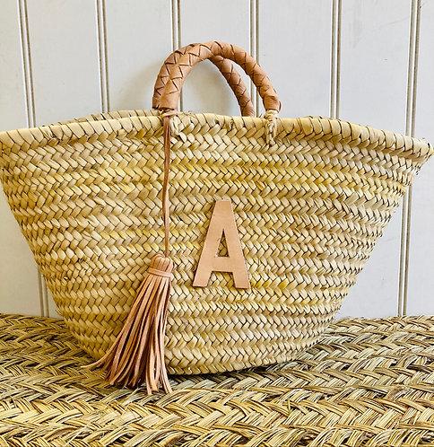 Leather plaited Handle basket