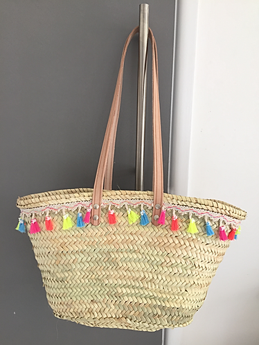 Small long handle Capri basket with Neon tassels