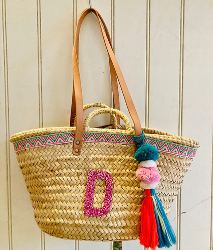 Aztec green and pink basket