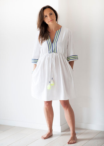 White Kaftan with neon and blue embroidery