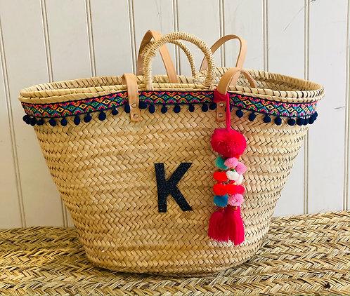 Navy Aztec Pom Pom Basket