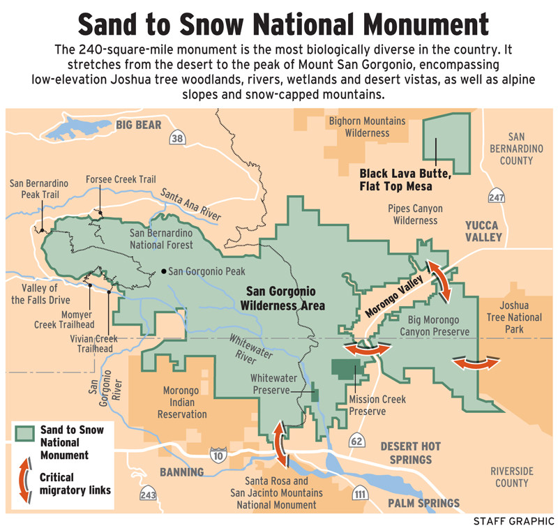 Sand to Snow National Monument Map