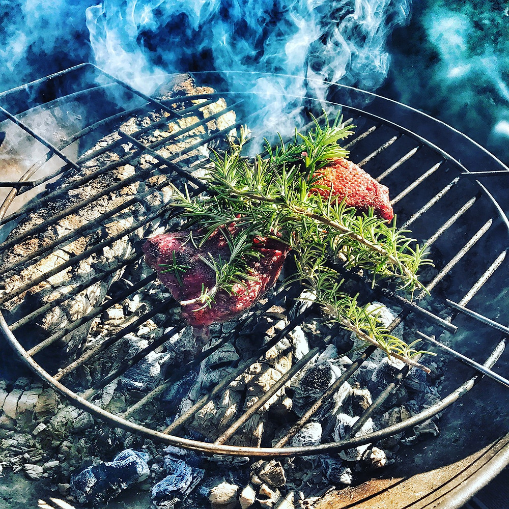 Everything goes with rosemary on the grill