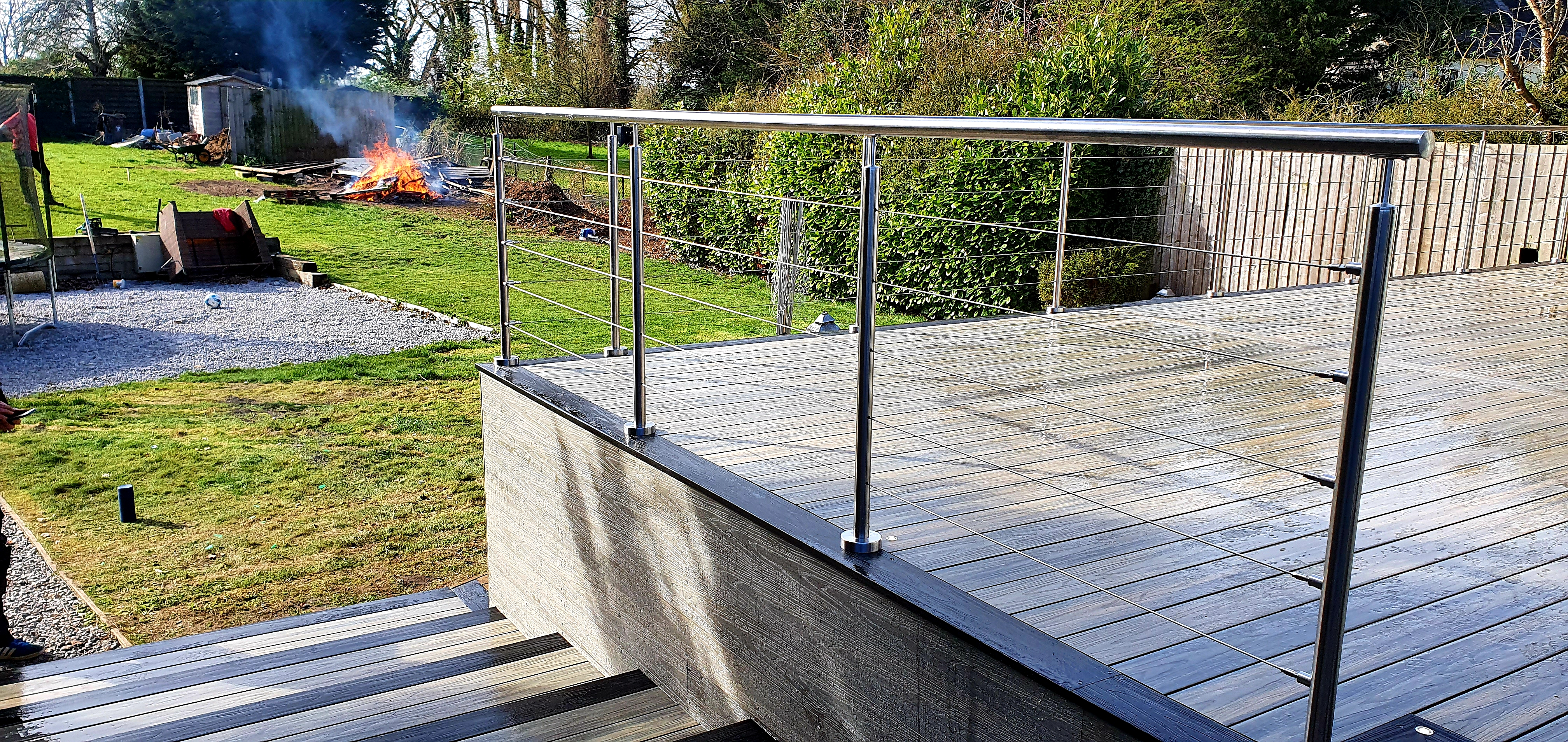 Stainless steel handrail and wires in Dunmow