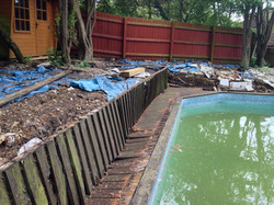 Timber deck around swimming pool