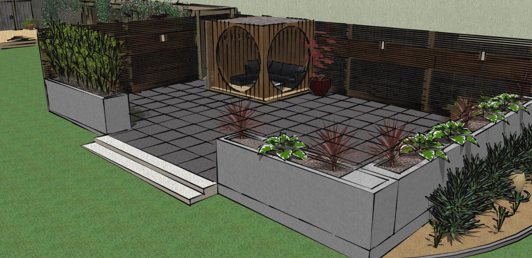 Patio and feature