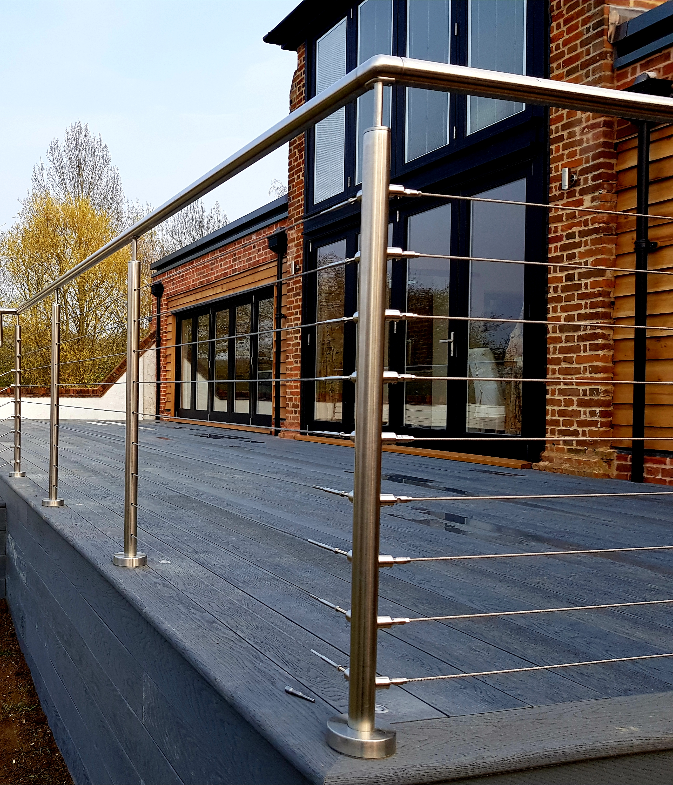 Steel deck handrail