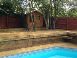 Garden swimming pool deck