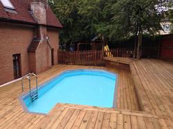 Decking around swimming pool