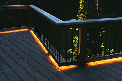 LED handrail lighting on a deck can be really effective
