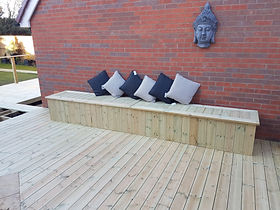 We can build storage on your decking that double as benches. Hinged lids hide a tonne of concealed storage space.