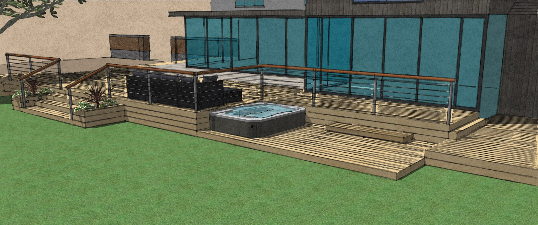 Raised composite decking