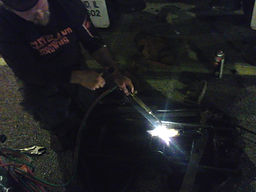 mobile mechanic nick nave using a welding torch to heat up and repair 5th wheel junction,nicholas galdine,nick galdine,nicky galdine,nick galdine II