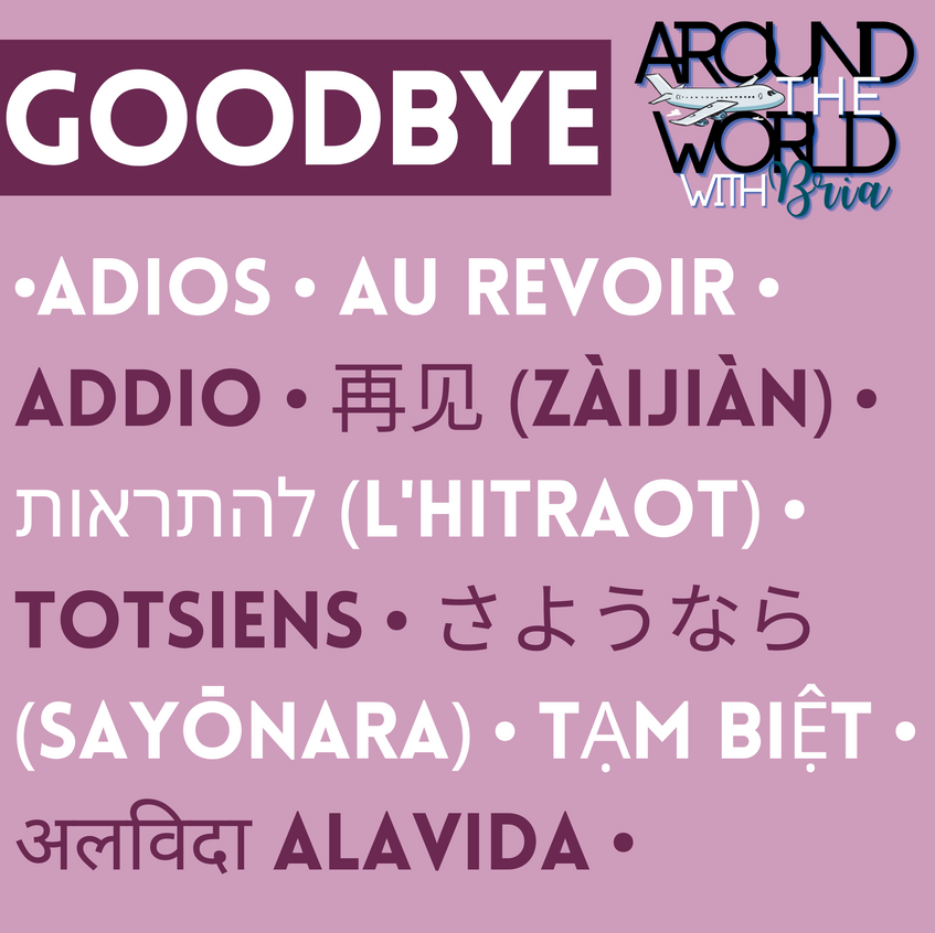 Goodbye in Spanish, French, Italian, Chinese (Simplified), Hebrew, Afrikaans, Japanese, Vietnamese, and Hindi